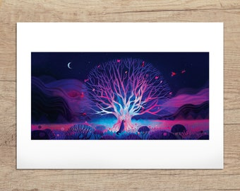 Art print - Blue tree and Wolf