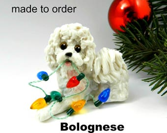 Bolognese Dog PORCELAIN Christmas Ornament Figurine Made to Order