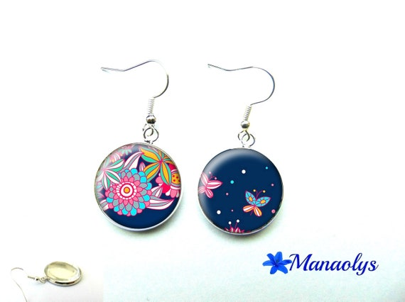 Flowers and multicolored butterflies on a Navy blue background, 485 glass cabochons earrings