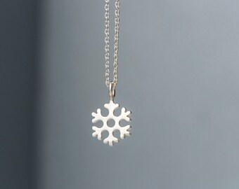 Snowflake Necklace 14k Dainty Solid Gold Tiny Pendant Gift for Her Anniversary birthday good luck charm mothers day rose gold
