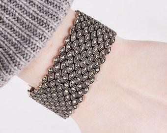 Vintage Bracelet - Vintage Sterling Silver Marcasite Bracelet