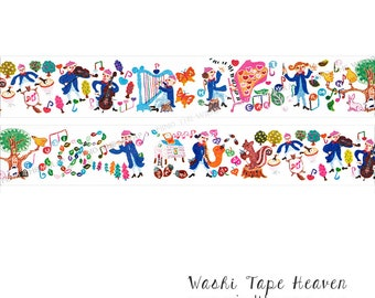 "Aimez le Style ""Concert in the Forest"" Washi Tape - Wide 38mm x 7m - Fairyland Orchestra Musicians Entertain Woodland Animals"