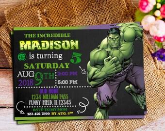 Hulk invitation, Hulk Birthday,Hulk Birthday invitation, Hulk Party, Hulk invitation for boy, Hulk Invite, Hulk favors, Hulk Printable, Hulk