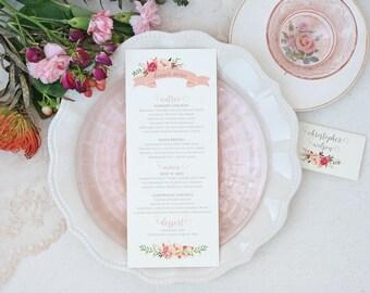 Wedding Menu Cards with Blush Floral Design - Rustic Wedding Menu - Floral Menu Cards - Wedding Reception Menu