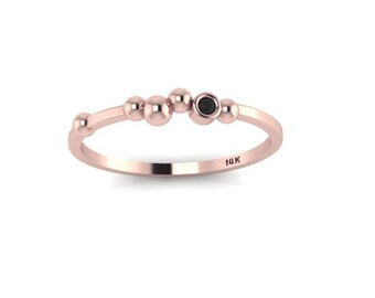 Polka Dot 14K Rose Gold Ring Stack Band Black Diamond Bezel Simple Unique Jewelry