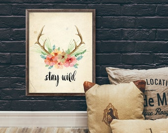 Watercolor antlers with flowers print art | Printable wall art | Be brave | Quote print | Stay wild | Digital printable | Loft decoration