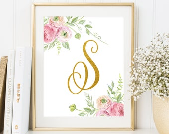 Nursery Monogram S Letter Nursery floral decor floral monogram Gold letter print Printable Art Nursery Letters Initial calligraphy monogram