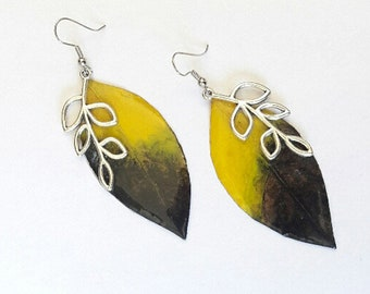Earrings Leaf, Earrings of natural leaf. Jewelry, Gift for Her