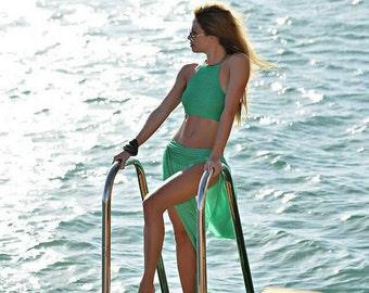 Women Swimwear Sexy Bikini Green Swimsuit for Woman Bikini Crochet Bikini Set Summer Party Two Piece Swimwear Halter Bikini Top