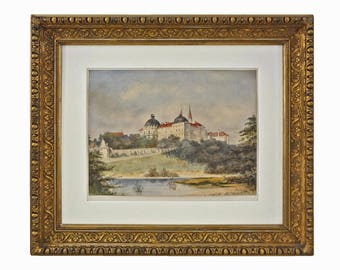 Antique Austrian Watercolor Painting Klosterneübürg Monastery Signed - c. 1890's, Austro-Hungary