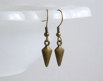 SALE 30% OFF - Geometric/Kite Shape Earrings, Antique Brass Plated, Simple Everyday Jewelry