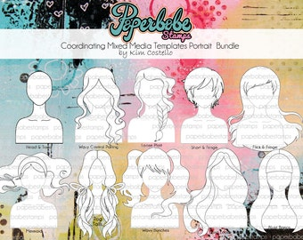 Mixed Media Templates ~ Portrait Face Full Bundle - Paperbabe Stamps - Mylar templates - For mixed media, paper crafting and scrapbooking.