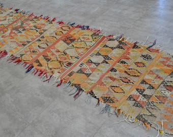 "2'6"" x 13'1"" Antique Turkish Kilim Rug Hand Woven Flat Weave Diamond Runner Hallway Rug 77 cm x 400 cm Long Runner Sku: BS3603"