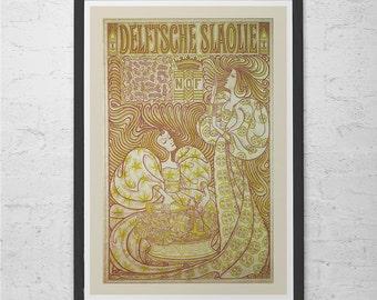 Antique Art Nouveau Poster Fine Art Print Belle Epoque Poster Paris Print Wall Art Vintage Poster
