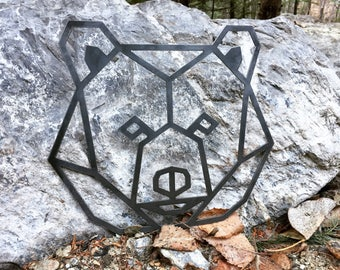 Metal Geometric Bear Face