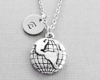 Globe Necklace, Earth, World, Planet Jewelry, Celestial, Universe, BFF, Silver Jewelry, Personalized, Monogram, Hand Stamped Letter Initial