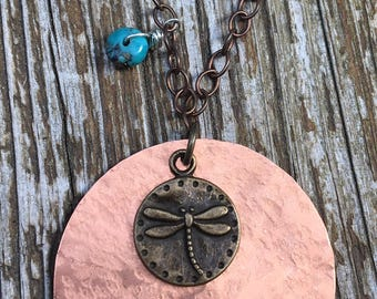 Hammered Copper & Brass Dragonfly Necklace