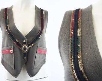 Coloratura / Woman's Vintage Wool Vest / Western / Concho / Retro Top