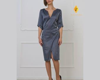 Grey Cotton Dress by TAVROVSKA, Japanese Style, Kimono Dress, Work Cotton Dress
