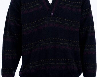 Vintage Wool Sweaters-mix-graphic pattern-sweater black-lilac-V-neck-size L-90s vintage-vintage clothes of the 90s