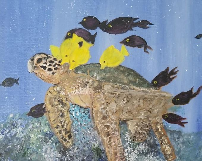 Sea Turtle Art - Acrylic painting