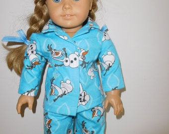 Flannel pajamas for 18 inch dolls