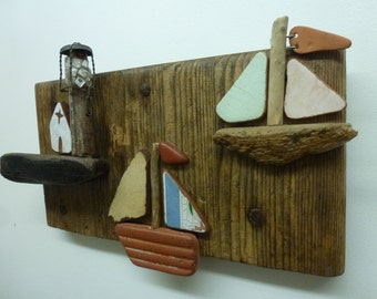 Driftwood art plaque 3D picture sailing yachts boats heading home lighthouse harbour