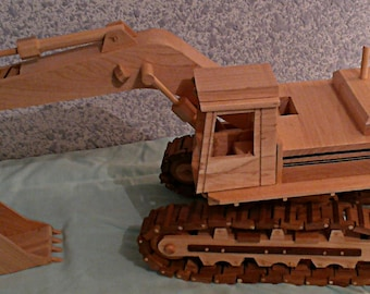 Excavator   Construction Equipment  Hand Crafted   All wood