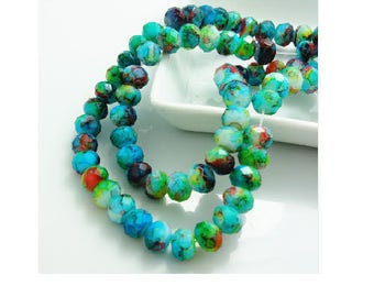 set of 10 marbled 8 mm multicolored faceted glass Crystal beads