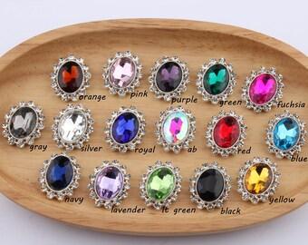 22*27MM Newborn Chic Silver Shiny Flatback Buttons For Wedding Crystal Oval Rhinestone Button Embellishment