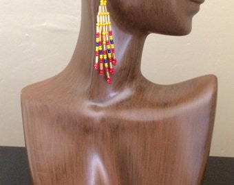 Medium Gold and Red Beaded Earrings