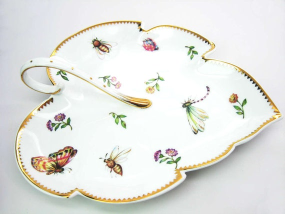 Vintage Handled Leaf Serving Plate. Nature Lover Candy Dish w/ Butterflies, Insects & Flowers. Gold Trim. Godinger Porcelain Fine Dining