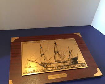 Brass and Wood Picture ~ Hollandisches Segelschiff Anna 1647 ~ Dutch Sailing Ship ~ Tall Ship ~ Brass Plaque ~Vintage