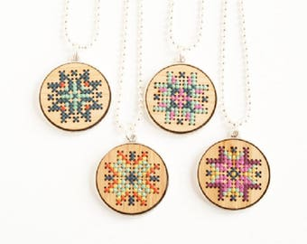 Cross Stitch Kit - Bamboo Necklace - DIY - Bamboo Pendant