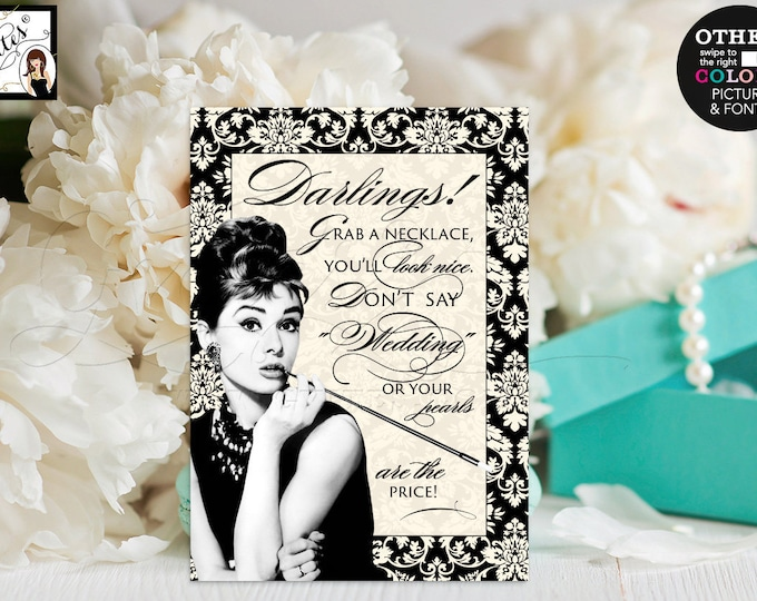 """Pearl Necklace Game Sign, Bridal shower games Audrey Hepburn, Ivory and Black Damask breakfast at themed co bridal, 5x7"""" Gvites."""