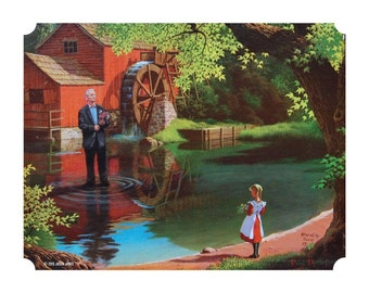"""8"""" by 10"""" print, """"Bill Murray Walking on Water"""" Altered Thrift Store Art"""