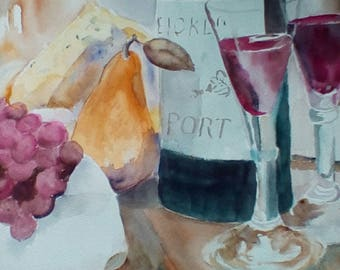 """A Glass of Wine and Thou, is an original watercolor, done on archival paper, measures 11x14"""" and is unmatted and unframed."""