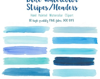 Blue watercolor headers and stripes, watercolor clipart shapes aqua and teal, graphic shape set PNG files, instant download