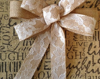 Small burlap bows/wedding centerpiece bows/christmas tree