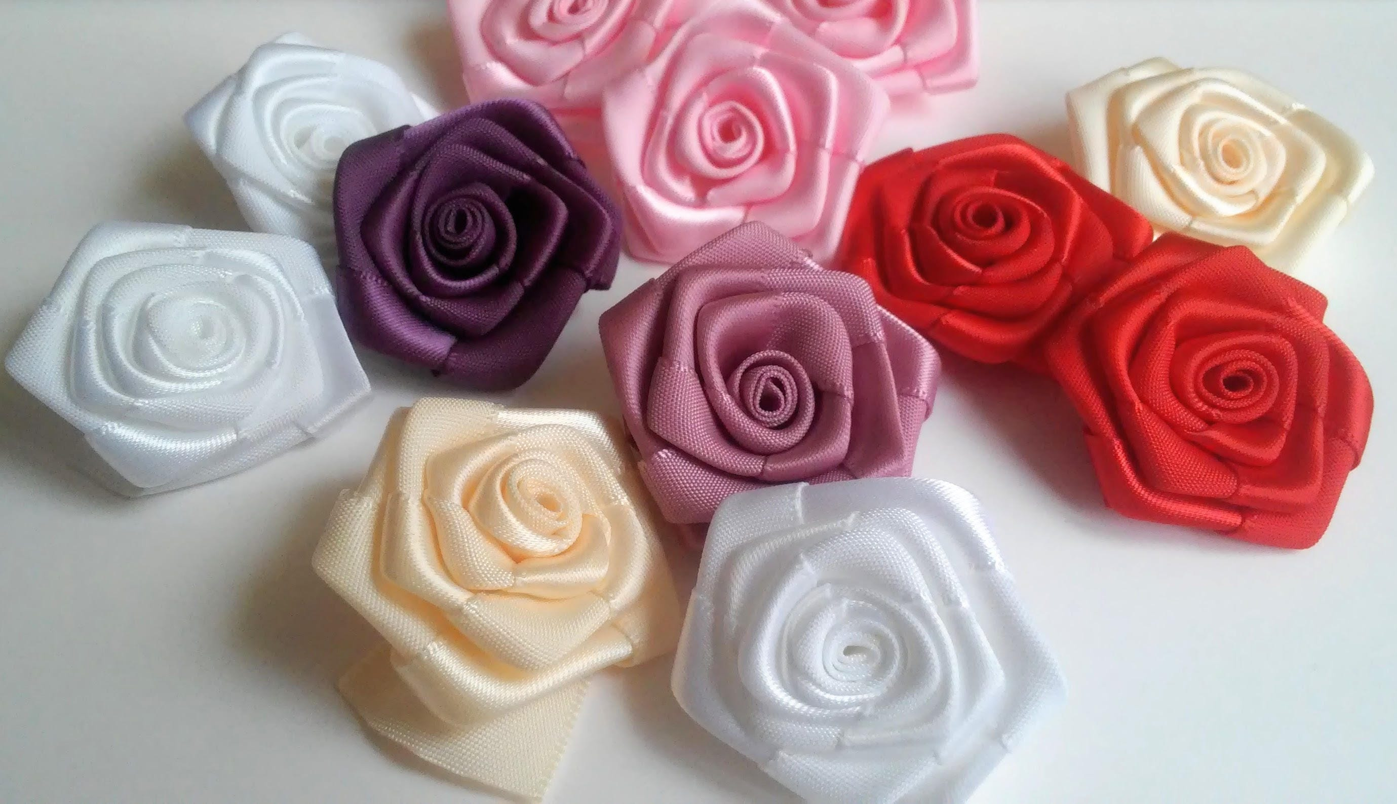 Satin Roses Ribbon flowers Wedding decorations Ribbon roses