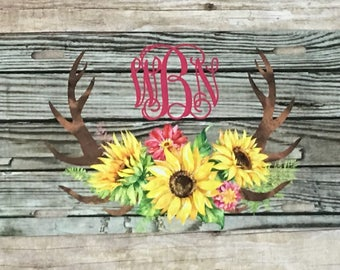 Personalized Sunflower and Rustic Wood with Antlers Design License Plate Monogrammed License Plate