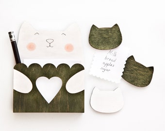 New mom gift, Cat Fridge Magnets, Green Housewarming Gift, Green wooden decor, Kitchen Organization, Mother Day Gift, Cat Magnet