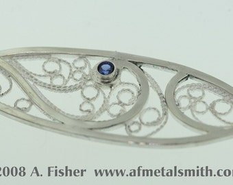 Wide Filigree Ring with Sapphire