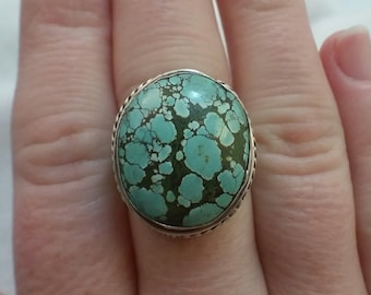 Turquoise ring (Old Tibetan Turquoise) set in Sterling Silver - free shipping - turningleafjewelryco - December birthstone - hand made ring