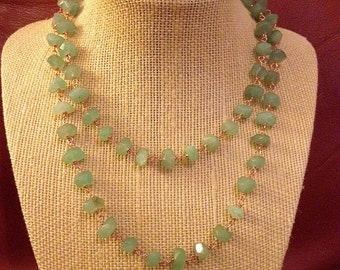Faceted Green Aventurine Nugget Wire-Wrapped Necklace on Copper