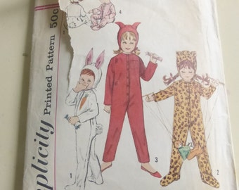 Vintage Simplicity Pattern 4198 Child's Bunny Leopard Little Devil Costume of Pajama Child Size 4