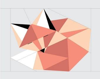 "Sleeping Fox Paper Piecing Pattern - 16"" x 16"" Quilt Block"
