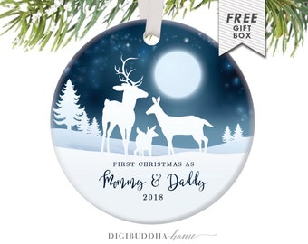 Our First Christmas as Mommy & Daddy Ornament Deer Family Ornament Personalized Christmas Ornament Deer Keepsake Buck Doe Deer New Parents