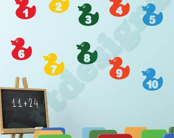 RUBBER DUCKS Numbers 1 to 10 Learning Educational Girls Boys Kids Childrens Bedroom Nursery Vinyl Wall Art Sticker Decal Transfer