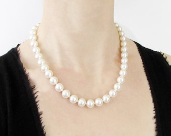"""18 Inch Hand Knotted Pearl Necklace, 18"""" Pearl Necklace, Glass Pearl Necklace, Hand Knotted Pearls, Faux Pearl Necklace, Swarovski Pearls"""